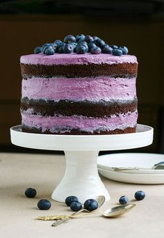 Chocolate cake with blueberry and almond mousse