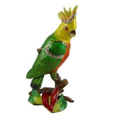 """Sunflower Parrot Trinket Box with Swarovski Crystals by EchoMerx. Save 54 Off!. $29.99. 1-3/4""""L x 1-3/4""""W x 3-3/4""""H. Inlaid Swarovski crystals.. Comes in a satin lined gift box.. In stock.. High quality piece.. This colorful parrot trinket box shimmers with Swarovski crystals and high polished enamel. Hinged opening with magnetic closure inside.  1-3/4""""L x 1-3/4""""W x 3-3/4""""H Comes in a deluxe gift box with satin lining.  See additional images at following links…"""