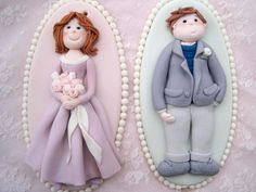 Mary and James Couple Plaque Cake Toppers - Fondant Wedding Cake, Anniversary Cake Topper  Decorations