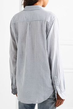 Current/Elliott - The Boyfriend Striped Cotton-chambray Shirt - Light blue