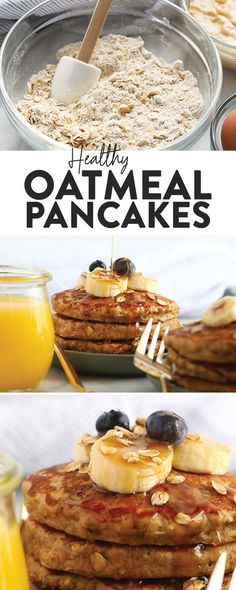 Start your morning off right with these fluffy banana oatmeal pancakes! We're … Start your morning off right with these fluffy banana oatmeal pancakes! We're excited that these gluten free pancakes that don't taste…like. Breakfast Appetizers, Breakfast Pancakes, Banana Pancakes, Breakfast Dessert, Healthy Breakfast Recipes, Best Breakfast, Healthy Recipes, Breakfast Ideas, Vegan Oatmeal Pancakes