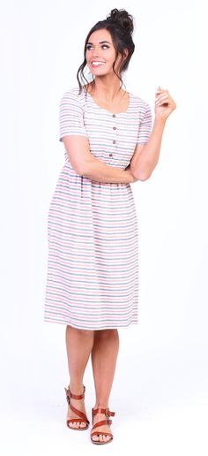 23c35613a8b61 Alexis Dress (Red and Blue Striped) Modest Skirts, Modest Outfits, Modest  Fashion