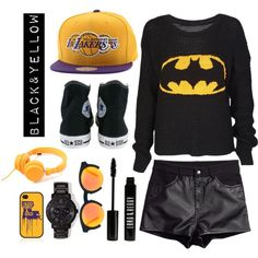 """BLACK&YELLOW"" by christinemeeske on Polyvore"