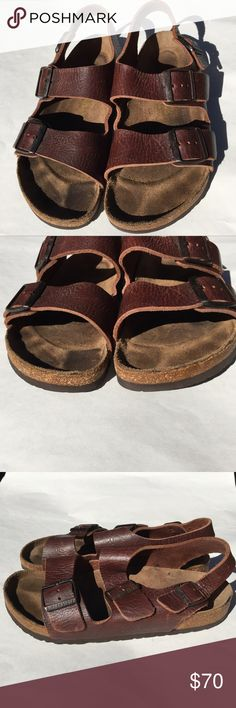 Birkenstock Milano Gorgeous Brown Leather L8 M6 This pair is preloved and in excellent condition!!  Gorgeous brown leather with soft cork footbed.  This pair has been broken in with normal wear.   I added an extra hole in the back strap to fit it tightly around my heel.  This can be seen in pic 4.  Review photos to see the great condition! Birkenstock Shoes Sandals