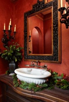 don't forget to decorate the powder room, this is beautiful... LOVE that Paint Color/Faux Finish !