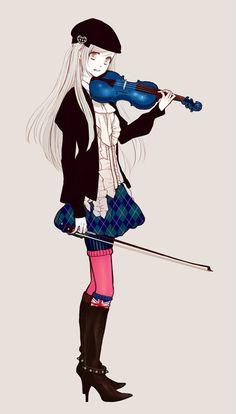 Garota Fofa Anime Violino Azul