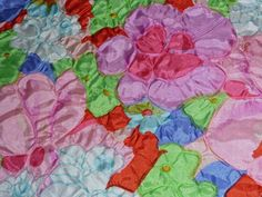 """Vintage Synthetic Puffy Bumpy 3D Flower Power Floral Fabric 41"""" wide x 143"""" long"""
