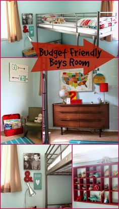 Boys Room on a Budget! This room is amazing and so unique! Love the wall decor and iron frame bunks. Super cool US Wall Map!