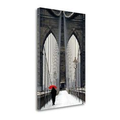 "Tangletown Fine Art 'Brooklyn Bridge Meets Red' Graphic Art Print on Wrapped Canvas Size: 48"" H x 32"" W"