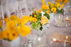 Deconstructed yellow centerpieces