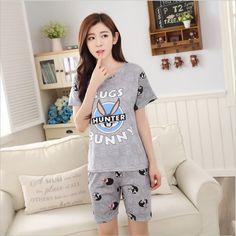Women Pajamas Sets Hot Summer Short Sleeve Thin Cotton Cartoon Print Cute Loose Sleepwear Girl pijamas Mujer Nightgown For Women