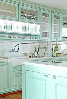 ~Magical Home Inspirations~ — Turquoise kitchen! Love the shell pulls, and the. Kitchen Redo, New Kitchen, Vintage Kitchen, Kitchen Remodel, Kitchen Ideas, Aqua Kitchen, Kitchen Walls, Kitchen Rustic, Country Kitchen