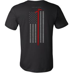 """Roof Hook Firefighter USA Flag Shirt  Features a Roof Hook over a subdued American Flag.  * Official Thin Line Style Apparel, printed in The USA * 100% combed, ring-spun cotton unisex retail fit tee * Soft, shoulder to shoulder taping, side seams, ultimate comfort * Machine wash cold with like colors, tumble dry low and remove promptly. Do not bleach.  Size Chest Body Length  S 34-37"""" 28""""  M 38-41"""" 29""""  L 42-45"""" 30""""  XL 46-49"""" 31""""  2XL 50-53"""" 32""""  3XL 54-57"""" 33"""""""