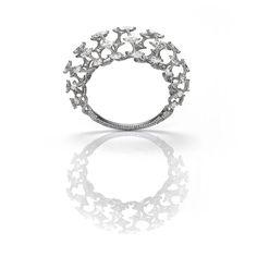 Edmond Chin jewellery open work white diamond and platinum bracelet. Star Jewelry, High Jewelry, Luxury Jewelry, Pendant Jewelry, Diamond Jewelry, Diamond Pendant, Diamond Rings, Unusual Engagement Rings, Engagement Jewelry