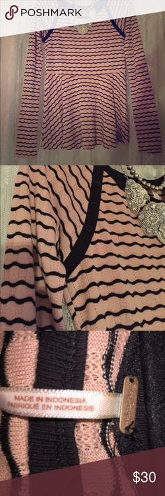Free People Top Pink and black stripes Free People top! Excellent condition Free People Tops Tees - Long Sleeve