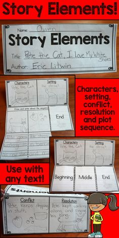 Story Elements activities: Anchor Charts, reading passages, interactive notebook pieces, cut and paste activities and so much more!