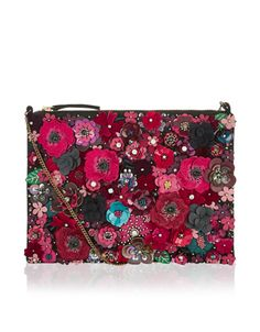 Own the night with our Mabel 3D floral embellished clutch bag, decorated with appliquéd blooms, sparkling crystal gems, sequins and beads. This party-perfect clutch has a zip-top fastening and a chain strap.