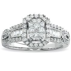 Elora 14k White Gold 1ct TDW Round and Baguette-cut Diamond Engagement Bridal Ring (H-I, I1-I2) (Size 6), Women's, Silver