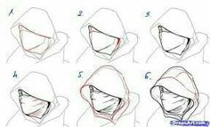 How to draw an assassin - Male wearing a hood - Clothing Reference - Drawing Reference~more of useful hood drawing tips Drawing Poses, Manga Drawing, Drawing Tips, Figure Drawing, Drawing Reference, Drawing Sketches, Art Drawings, Sketching, Drawing Ideas