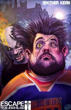 Kevin Smith corrupted by Escape From Jesus Island's Antichrist. He's now part of the Mutant Horde. Horror Comics, A Comics, Ghost Busters, Comic Strips, Joker, Comic Books, Island, Superhero, Artwork