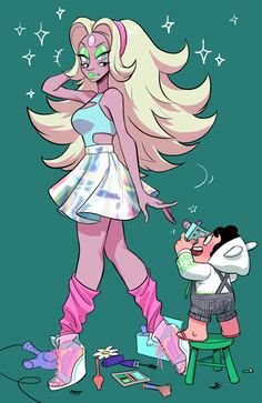 More fashion fun with Steven but this time with more fusions~ Art by http://c2ndy2c1d.tumblr.com/