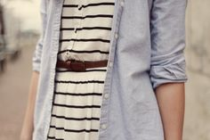Dress with an unbuttoned button-up over top for a casual cute look