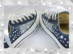 Our beautiful Pearl Clusters #pearl #weddingconverse #cinderswish #chucks #wedding #prom #bridal #bling #customised #navyconverse #bridesmaid #specialshoes #sparkly #girly