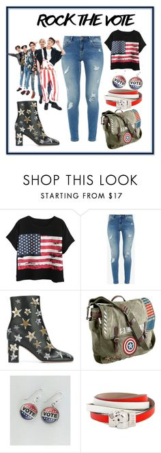 """""""vote for who?"""" by nativedoll ❤ liked on Polyvore featuring Chicnova Fashion, Ted Baker, Valentino, Marvel, Democracy (DJD) and Alexander McQueen"""