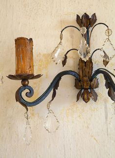 f5624b7e5 PICTURE THIS AUTHENTIC LOOKING WROUGHT IRON CANDLE SCONCE W AGED BRASS  DECORATIVE LEAVES  amp