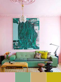 Desde los rosas más livianos a los más intensos, atrévete a darle color a tu vida y acierta combinando bien los colores alegres.  #rosa, #verde, #madera y #amarillo... #pintarelsalon #estilocreativo #salonesmodernos #pinturas