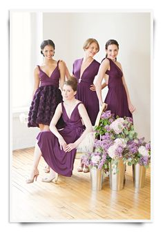 purple bridesmaids dresses | Photo by Trent Bailey - it's cool how nowadays the bridesmaids' dresses don't have to match