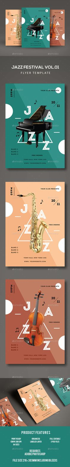 Jazz Festival Flyer Template PSD. Download here: https://graphicriver.net/item/jazz-festival-flyer/17108323?ref=ksioks