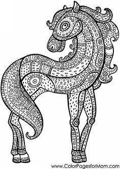 horse coloring page for adults #adultcoloring #horsecoloringpage #coloring
