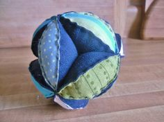 Baby puzzle ball navy and lime by rescuedthreads on Etsy