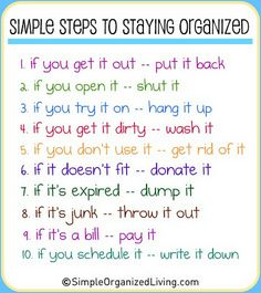 Sometimes easier said than done, but boy would life be easier if you could stick with it ALL the time! #Staying #organised