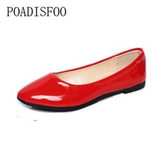 7.7$  Know more - POADISFOO 2017 Woman Shoes flat-on GIrls  Mujer Pregnant Woman Travel Shoes Patent PU Flat Women's Plus Size Shoe .XXXY-1506   #aliexpressideas