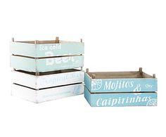 Set de 3 cajas de madera DM Bebidas