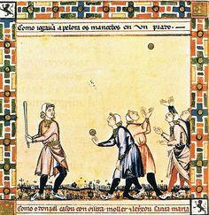 1252-84.Alfonso X of Castile. Cantigas de Santa María. Library of the Monastery of El Escorial manuscripts. Medieval baseball (El juego de la Pelota)