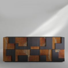 A magnificent piece of functional decor, this imposing sideboard is inspired by the majestic ruins of Cuzco, the ancient Inca capital in Peru. Crystal Shelves, Corten Steel, Side Door, Albedo, Sideboard, Storage Spaces, Backyard, Contemporary, Living Room