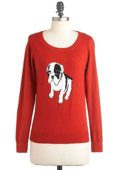 Dog On It Sweater. Finding your back-to-school sweater collection to be looking a little bland? #red #modcloth