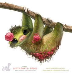 Daily+Paint+1746#+Sloth+Butts+-+Roses+by+Cryptid-Creations.deviantart.com+on+@DeviantArt