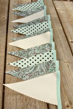 Aqua Paisley - Vintage Bunting Banner with 12 Flags. $22.00, via Etsy.
