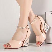 Venta caliente de las Nuevas mujeres de Moda de Verano Zapatos cadena del grano med Sandalias cristalinas Sandalias Mujeres Del Partido WN2206Y15 envío libre al por mayor(China (Mainland))