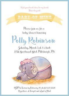 Dumbo Baby Shower Invitation, Baby Mine, Custom Invite, Printable, 5 X