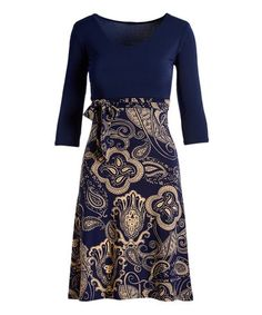 c74aa344dbc Look at this Navy   Beige Tie-Accent A-Line Dress - Women   Plus