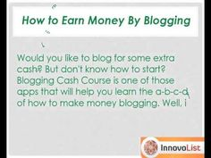 Blogging has become a popular online business nowadays of earning extra money for living. If you too are planning to make some extra cash, blogging cash course app can prove to be of great use in helping you build your own online blog business fast. http://innateapps.com/BloggingCashCourse.php