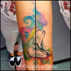Watercolor tattoo. Polar bear based off an image she brought in :)