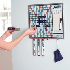 Magnetic scrabble game. Awesome. Although I'd obviously get guests to take my turn for me.