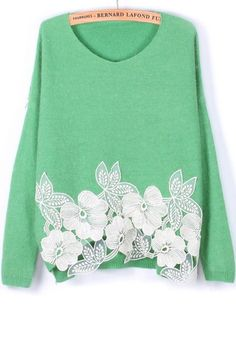 OASAP Pullover, Flower Applique V Neck Sweater, green, one size - $30   Just my style! - A funky color mixed with a vintage floral feel, all in an oversized sweater (:
