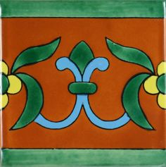 Especial Mexican Tile - Flor De Liz Terra Cota Y Azul – Mexican Tile Designs